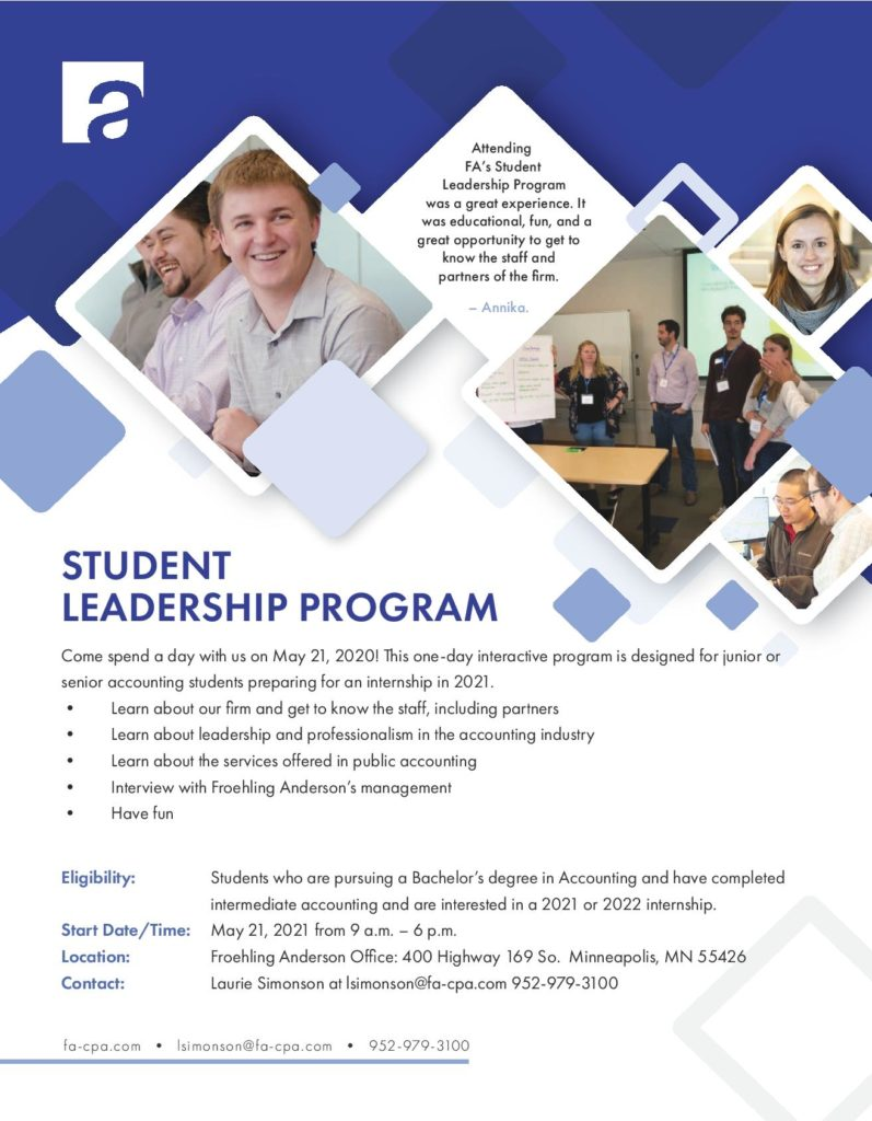Join Froehing Anderson for the Student Leadership Program 2020