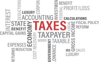 a graphic of tax words